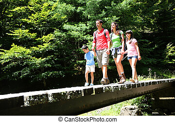 Family walking on a bridge in mountain forest