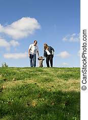 family walking on field over blue sky