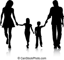 Family walking - Silhouette of a family walking hand in hand