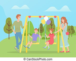Family walking together, children swinging on a slide swing. Happy cartoon kids with parents