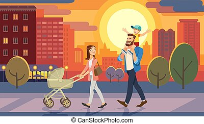 Family walking with baby car at city sunset. Fun lifestyle of cartoon characters at cityscape street