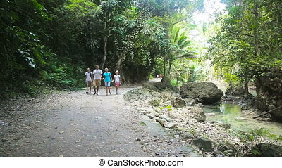 family walks on the walkway in rainforest