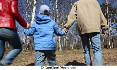 family walks to spring birch grove - family of three having...