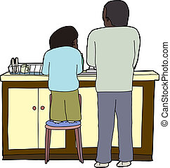 Family Washing Dishes - Child on chair helping father wash...