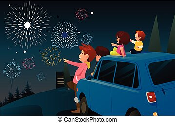 Family Watching Fireworks for New Year Celebration