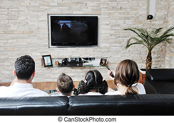 family watching flat tv at modern home indoor - happy young...