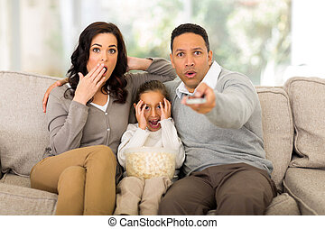 family watching scary movie