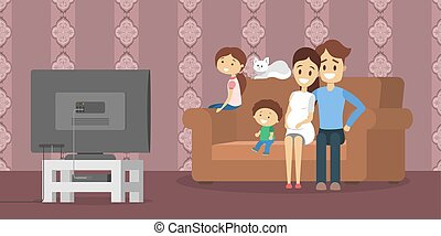 Family watching tv in the living room