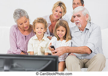 Family watching tv together