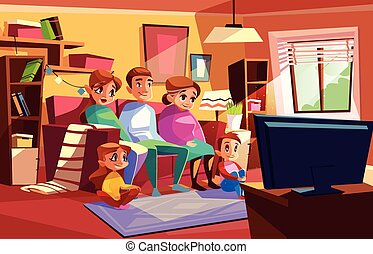 Family watching TV vector cartoon illustration