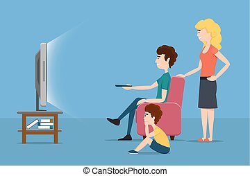 Family watching TV. Vector flat illustration