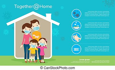 family wearing a surgical mask to prevent virus together at home banner