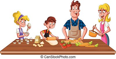 Family wearing apron and cooking. Chef in the kitchen.