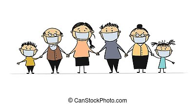 Family wearing protective Medical mask for prevent virus. Dad Mom Daughter Son Grandparents wearing a surgical mask.