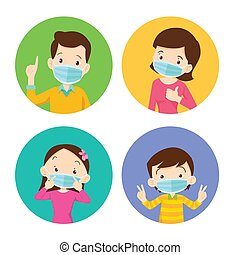 family wearing protective Medical mask for prevent virus. Dad Mom Daughter Son wearing a surgical mask.