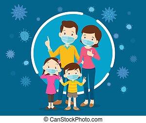 family wearing protective Medical mask for prevent virus. ...