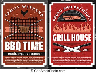 Family weekend barbecue grill picnic, retro poster