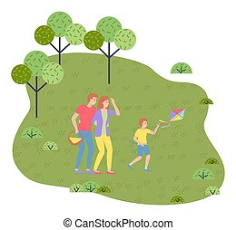 Family weekend concept with parents and child walking in the park cartoon vector illustration