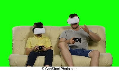 Family Weekend game virtual reality. Use VR glasses. Green...