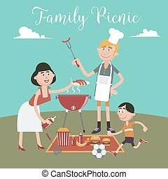 Family Weekend. Happy Family Doing Barbecue on Picnic. Vector illustration