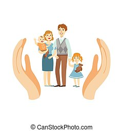 Family Wih Two Kids Protected By Palms - Family Wih Two Kids...