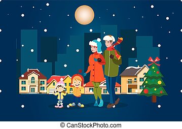 Family winter city landscape. Merry Christmas.