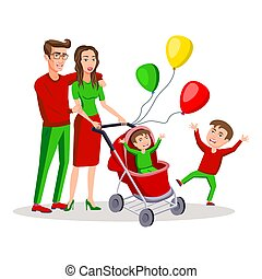 family with a boy and baby carriage colored vector modern flat design illustration, composition of cartoon characters. Happy parents