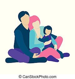Family with a small kid sitting on the floor