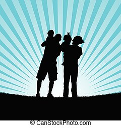 family with baby in nature silhouette illustration