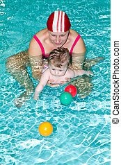 family with baby  in the swimming pool