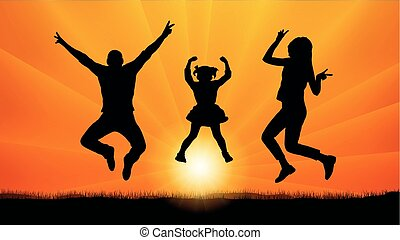 Family with baby jumping at sunset, silhouette vector