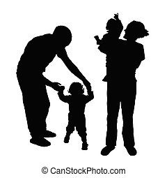 family with baby silhouette