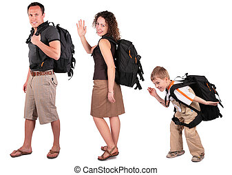 family with  backpacks