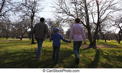 Family with boy keeping for hands goes forward on park in spring