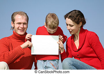 family with card for text