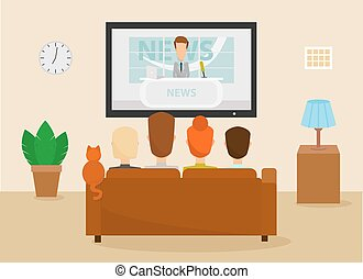 Family with cat watching TV daily news program sitting on the couch at home in the living room. Vector