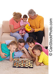 family with chess