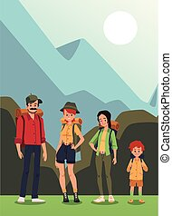 Family with child camping in wooded area, cartoon flat vector illustration.