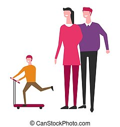 Family with child fun vector faceless people - Family and...