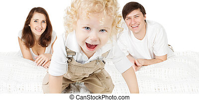 Family with child. Happy parents playing with baby