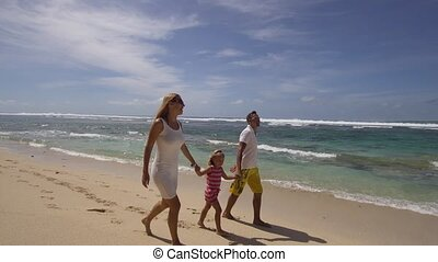 Family with child on the beach.
