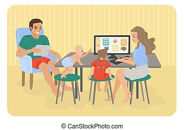 Studying at the computer at home. Tutor at home. Watching cartoons, children's education, children's Internet. Homework and hobbies. Mom, father and daughter, baby. Vector illustration