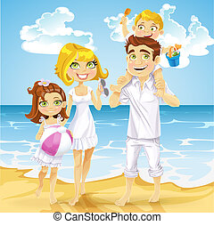 Family with children on sunny ocean beach