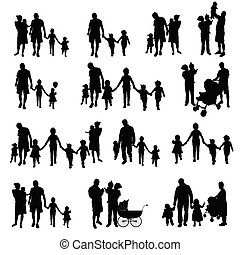 family with children set silhouette in black illustration