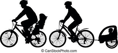 Family with children traveling on bikes. Mountain bike silhouette. Cyclist with a child stroller. City cycling family vector