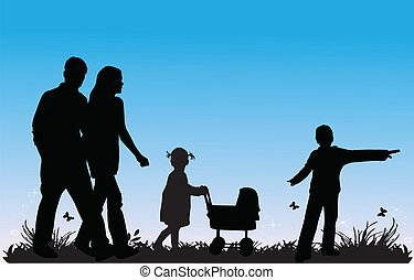 family with children walking