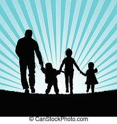 family with children walking in  beauty nature silhouette illustration