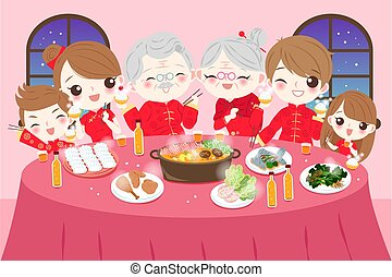 family with chinese new year