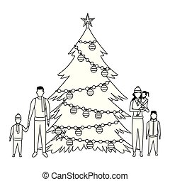 family with christmas tree black and white