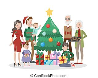 Family with christmas tree.